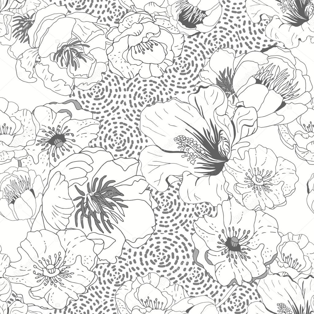 Black and white seamless floral  background. Isolated flowers on