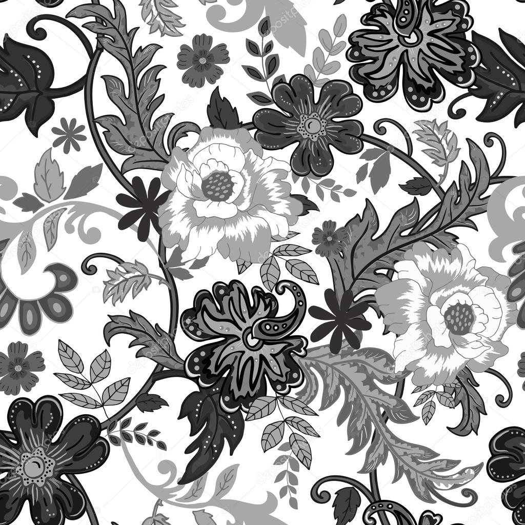 Seamless Floral Background Isolated Black And White Flowers And