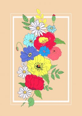 Vector flowers card. Design for invitation, wedding or greeting
