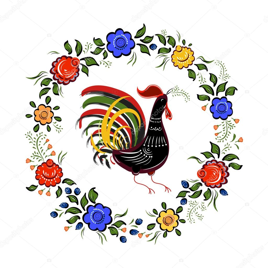 Folk background.Colorful flowers and leaves with cock on white b