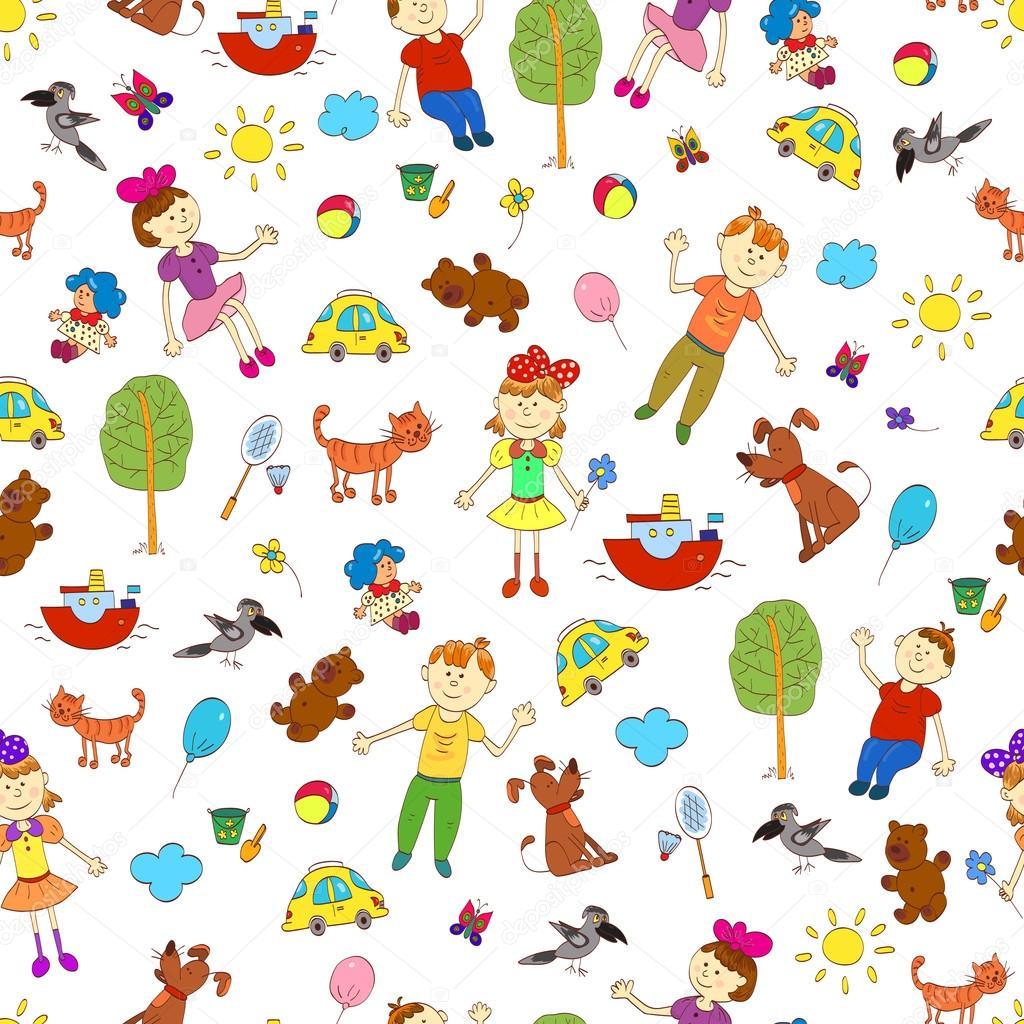Doodle de patrones sin fisuras de la vida de niños lindos como ...