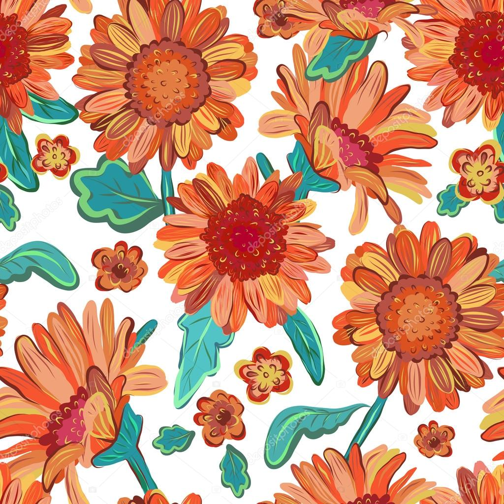 Seamless floral  background. Isolated orange flowers. Vector.