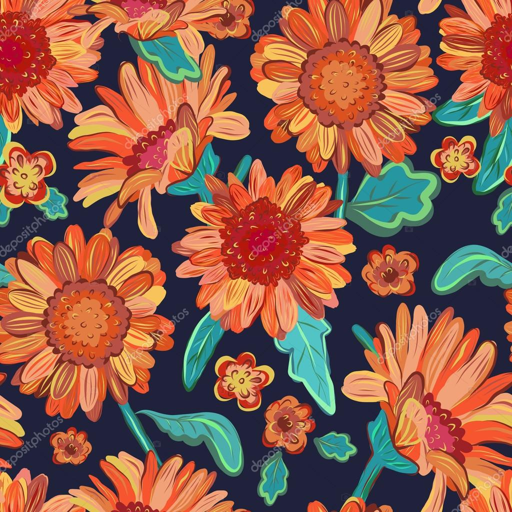 Seamless floral  background. Isolated orange flowers on black. V
