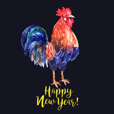 Vector watercolor fire cock on dark blue background with text Ha