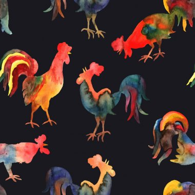 Vector seamless pattern with fire cock on black background. Chin