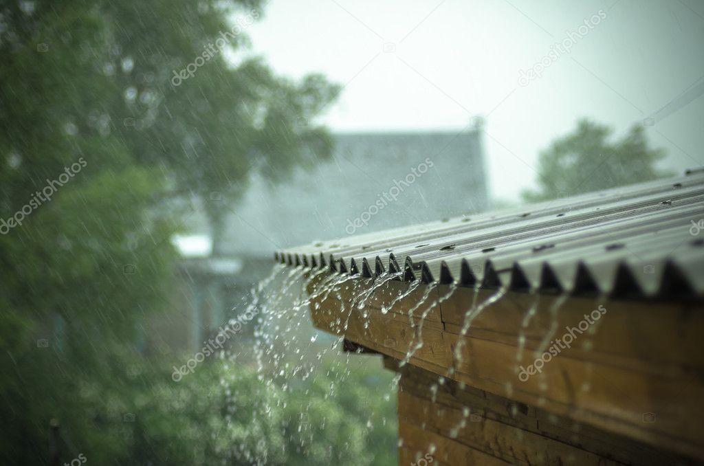 heavy rain flows down