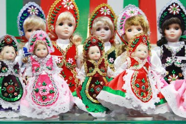 Traditional hungarian handmade toys puppets dolls in symbolic ar