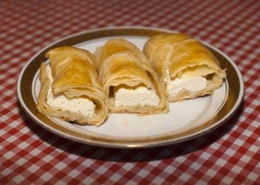 Homemade hungarian turos retes on family table
