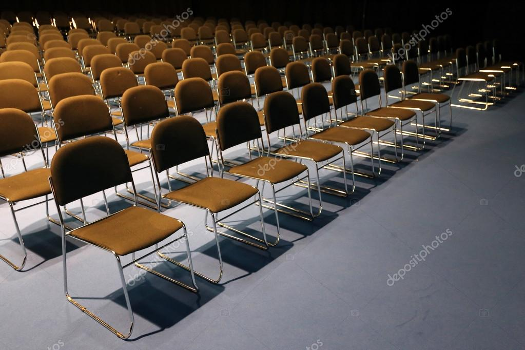 Big conference room full of empty seats u2014 Photo by accept001 & Endless rows of chairs in a modern conference hall u2014 Stock Photo ...