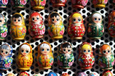 Group of russian matreshka dolls as souvenirs