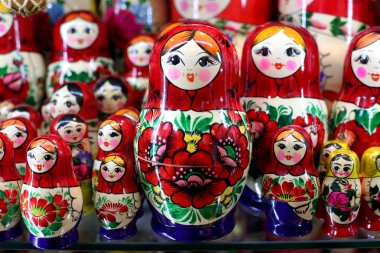 Colorful russian wooden dolls at a market