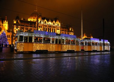 Unidentified people traveling on the special Christmas tramway