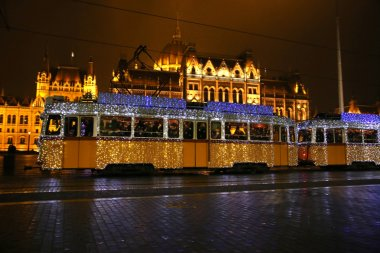 Unidentified people traveling on the special Christmas tram