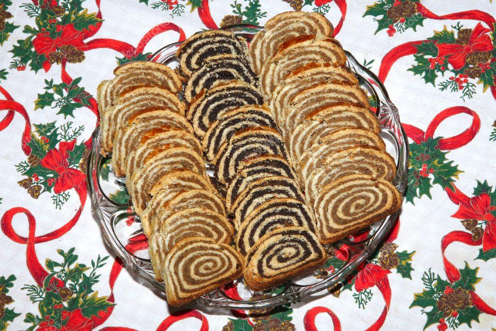 Hungarian Christmas Traditions.Homemade Traditional Hungarian Christmas Cake Stock Photo