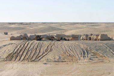 Star Wars scenery Ong Jemel near Nefta Tunisia with unknown sandmens