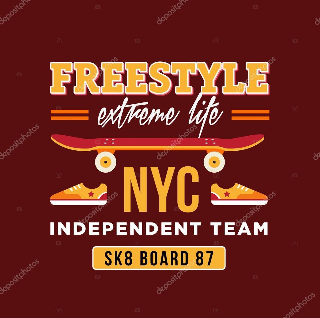 Skateboard-Grafik-Design für T-shirt. NYC unabhängiges team ...