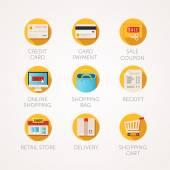 Nákupní ikony nastavit. Moderní ploché barevné ilustrace. On-line obchodu a maloobchodního podnikání související ikony