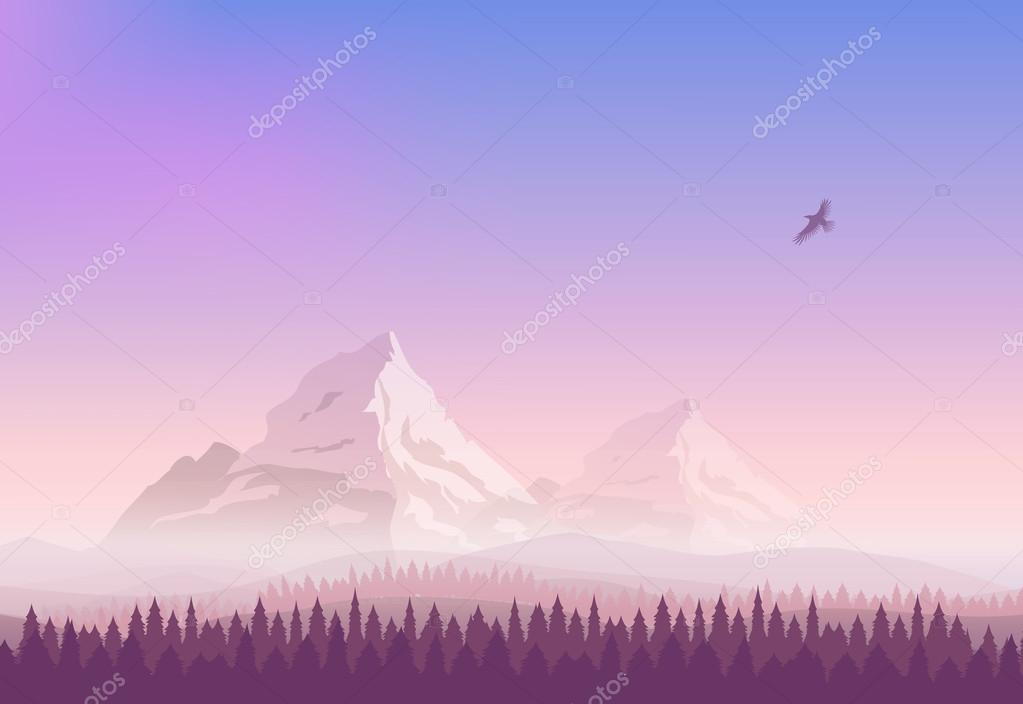 Vector landscape. Snowy mountains, gradient sunset sky and the pine forest. Silhouette of an eagle flying in the sky