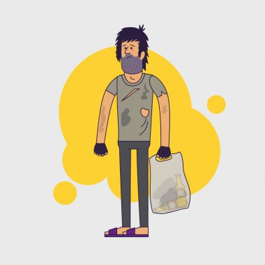 Dirty pitiful homeless. Shaggy man wearing dirty rags and with a plastic bag with empty bottles. Vector illustration. Linear flat style.