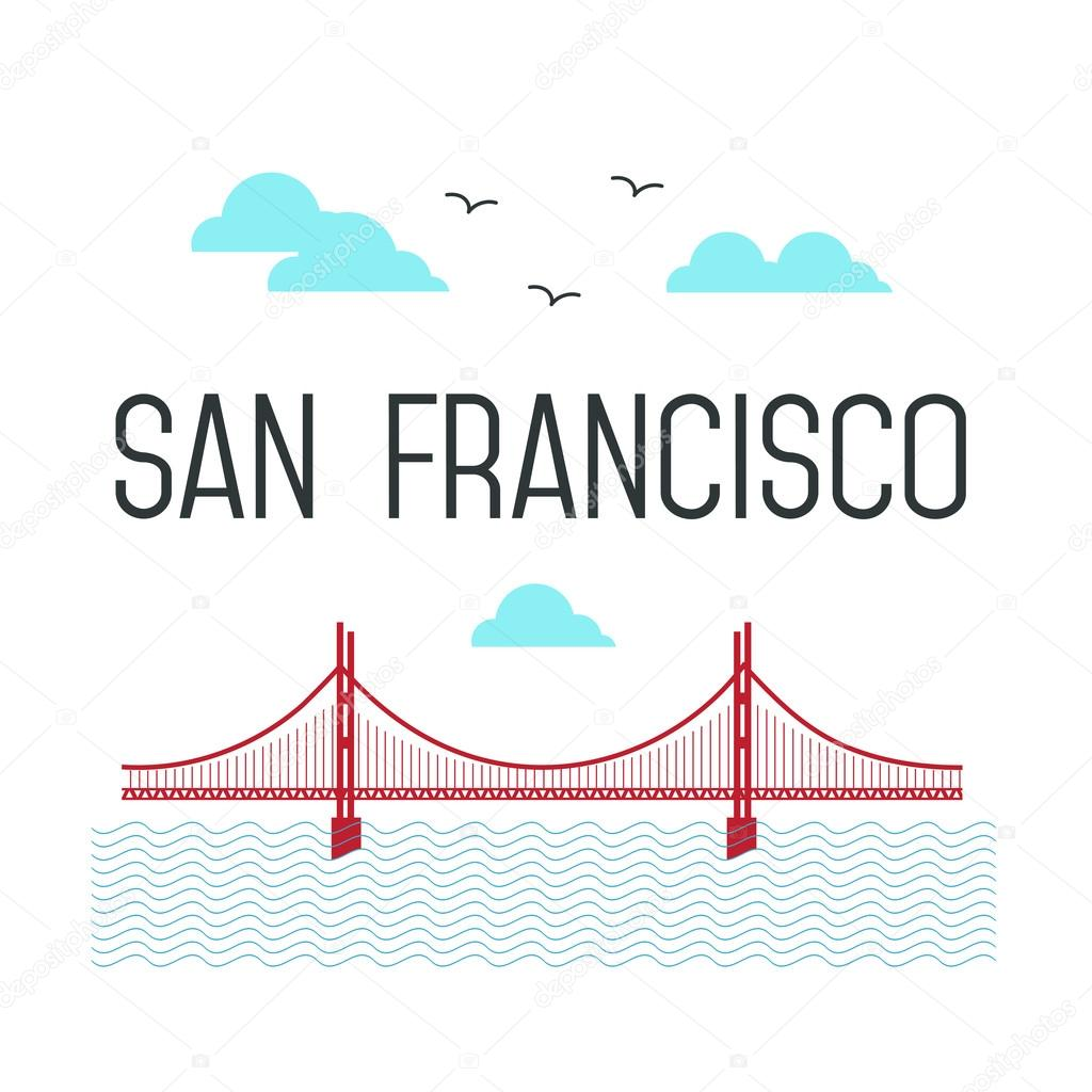 San Francisco Golden Gate Bridge. San Francisco vector landmark illustration. Line flat style. San Francisco view.