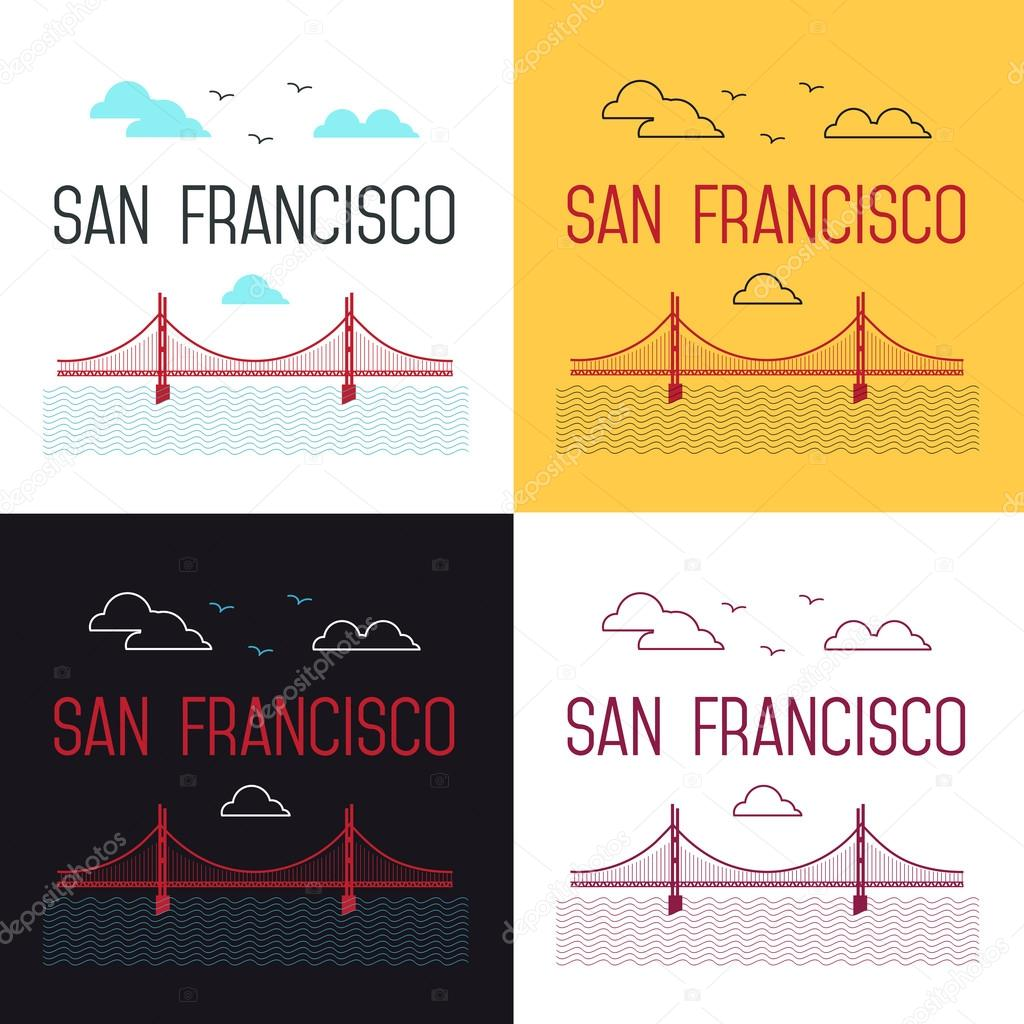 Illustrations set of San Francisco Golden Gate Bridge. San Francisco vector landmark illustration. Line flat style. San Francisco view.  T-shirt graphic