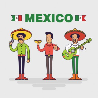 Mexican vector characters set. Mexican bandit, man with burrito and mariachi singer. Linear flat design.