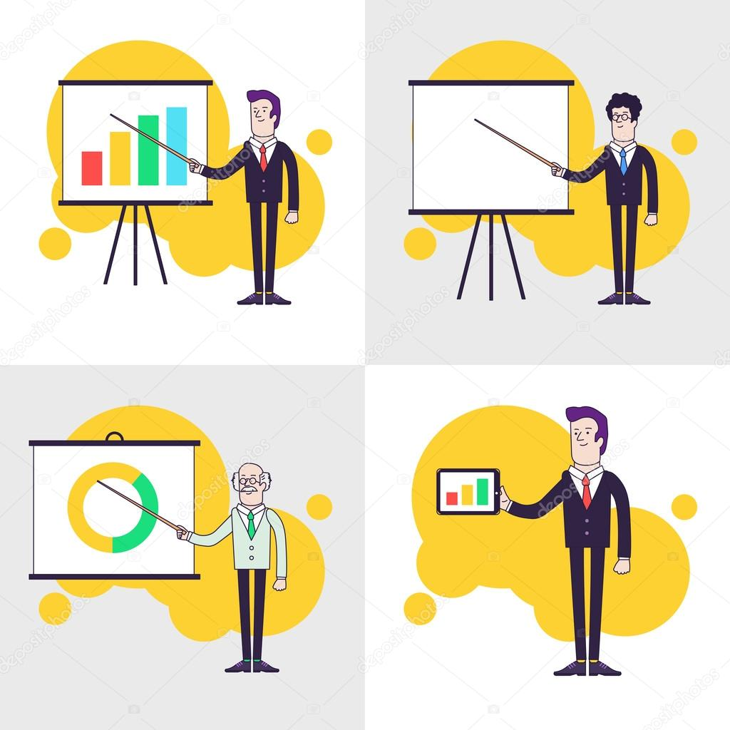 Modern businessmen set flipchart with colored bar chart pie chart flipchart with colored bar chart pie chart old professor is nvjuhfo Images