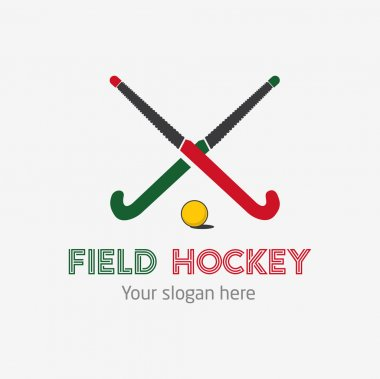 Field hockey team logo. Vector sport club badge with two sticks and ball.