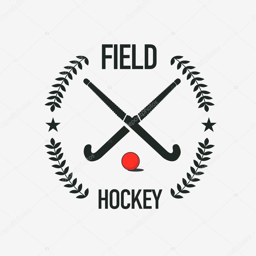 Field hockey team logo. Vector sport club badge with two sticks and ball.  Stock Vector Image by ©iam-frukt #114251062