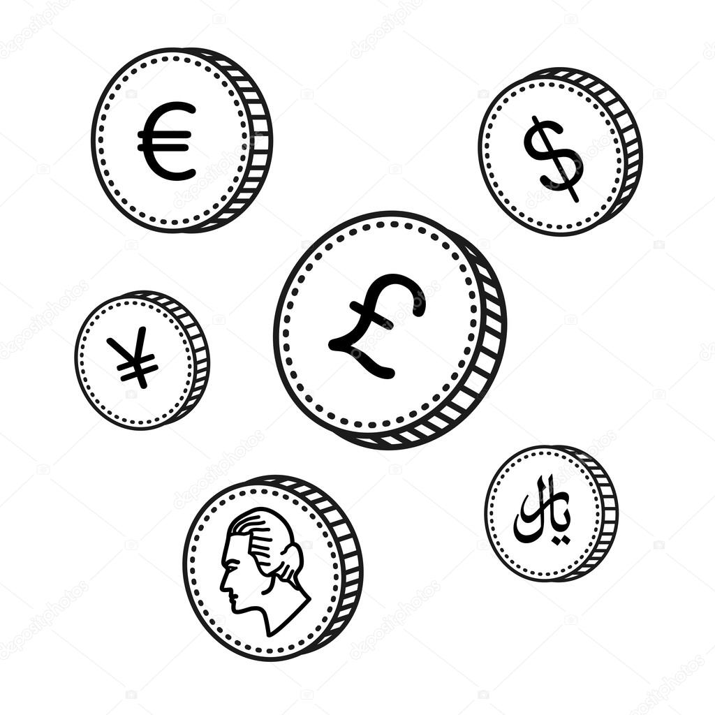 Line Drawing Money : Vector line hand drawn coins black and white money