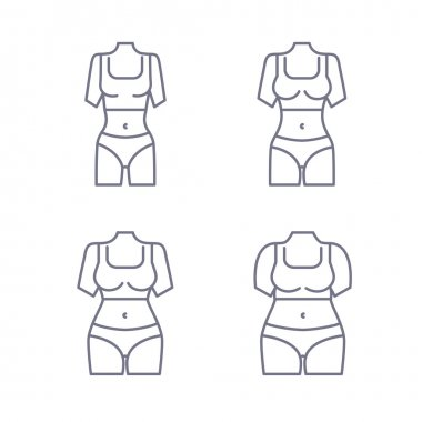 Collection of female body types. Set of thick and thin figures. Thin line icons. Vector illustration. Flat style design.