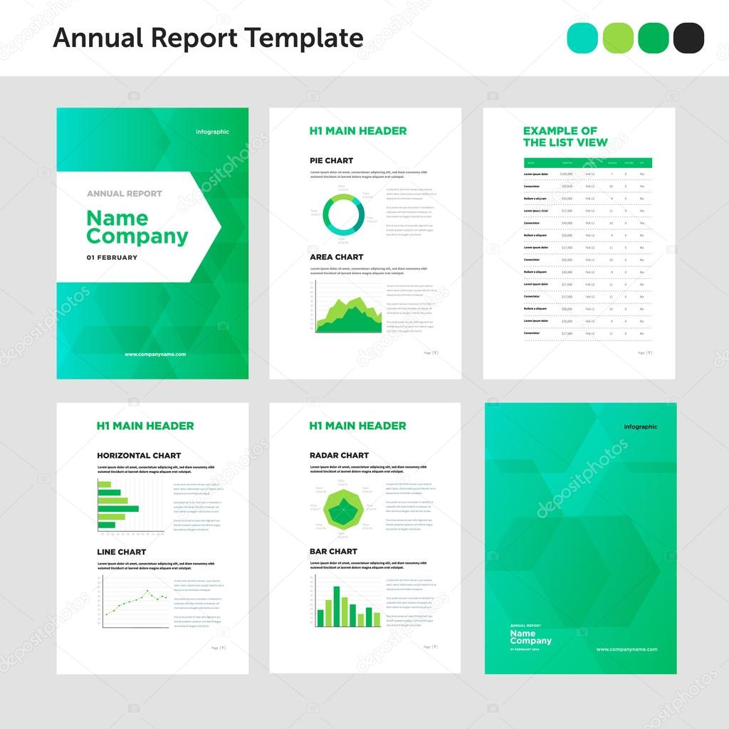 Modern Annual Report Template With Cover Design And Infographic U2014 Stock  Vector