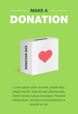 Charity and donation poster set. Flat design. For background and invitation card. Brochure layout template in A4 size. Vector illustration of the donation box for coins.