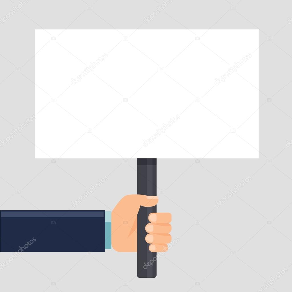 main tenant un signe ou une affiche vierge format horizontal plat style illustration. Black Bedroom Furniture Sets. Home Design Ideas
