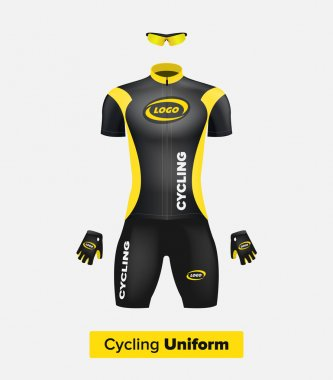 Realistic vector cycling uniform template. Black and yellow. Branding mockup. Bike or Bicycle clothing and equipment. Special kit: short sleeve jersey, gloves and sunglasses. Front view