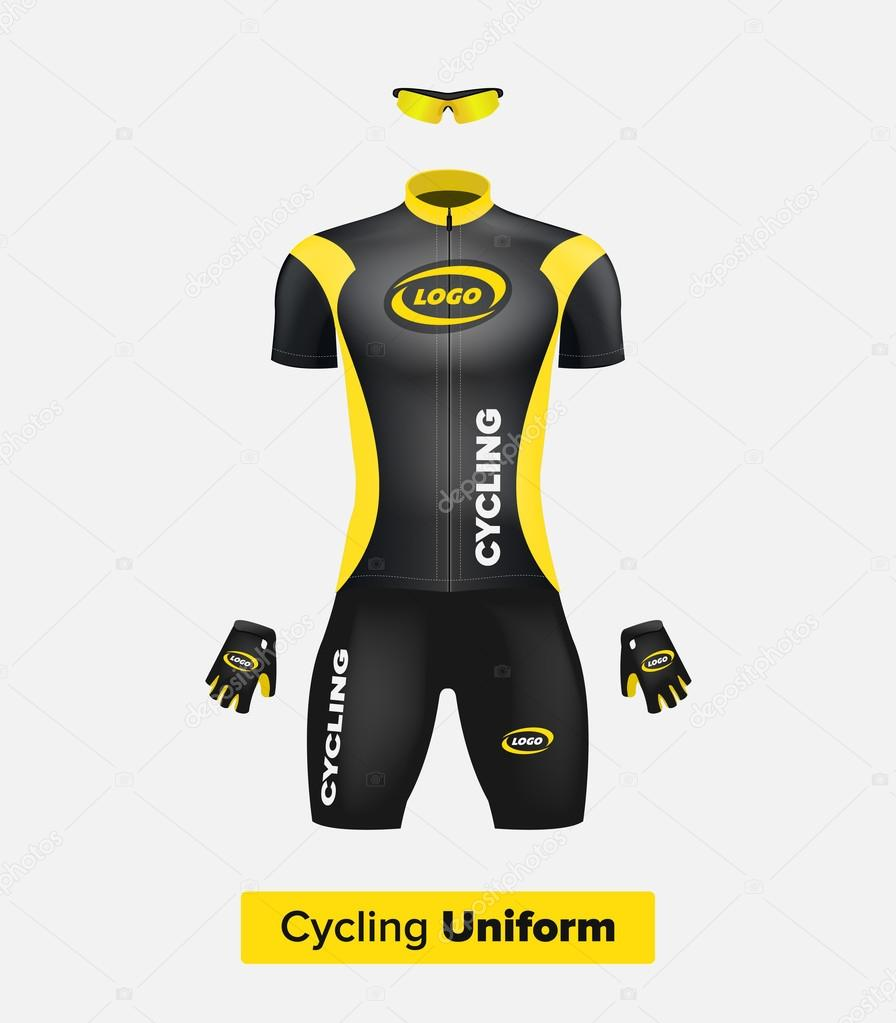 Realistic vector cycling uniform template. Black and ...