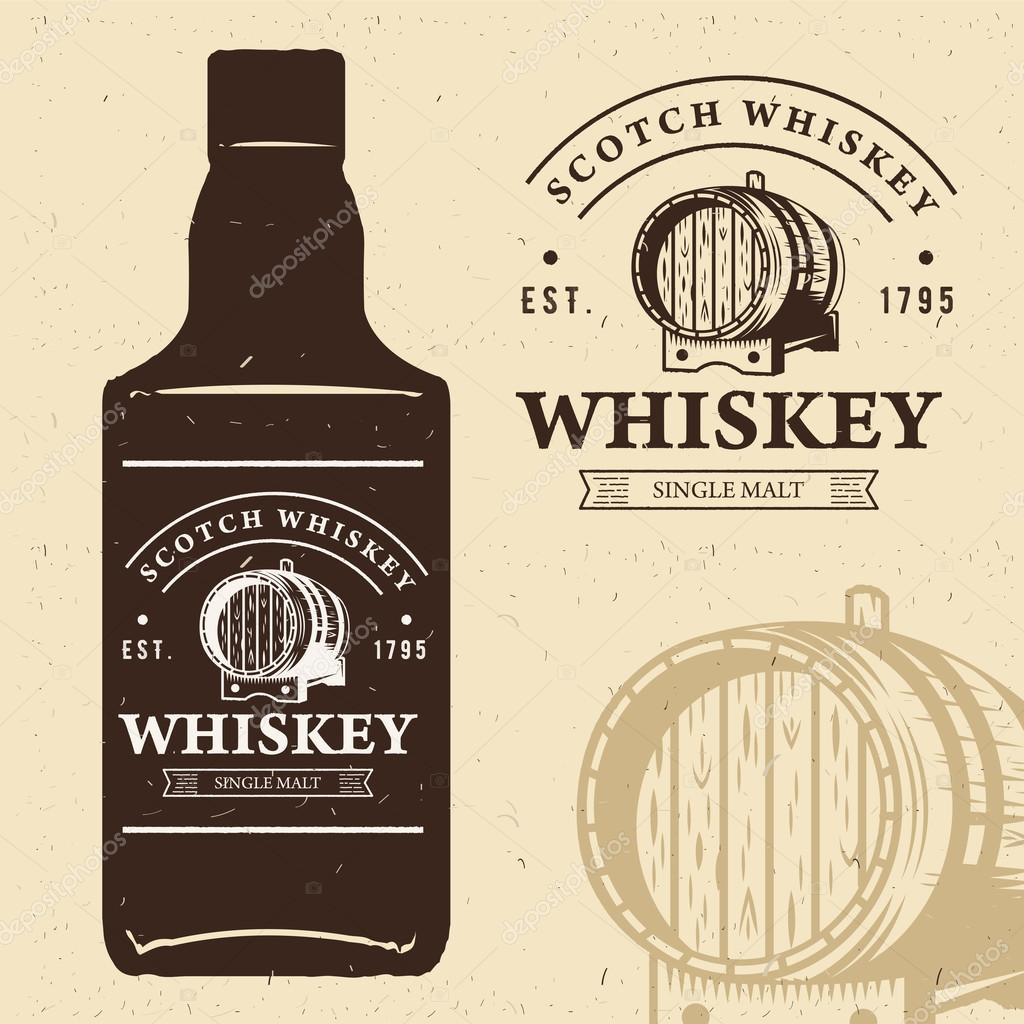 Typography Monochrome Vintage Label With Bottle Silhouette Scotch