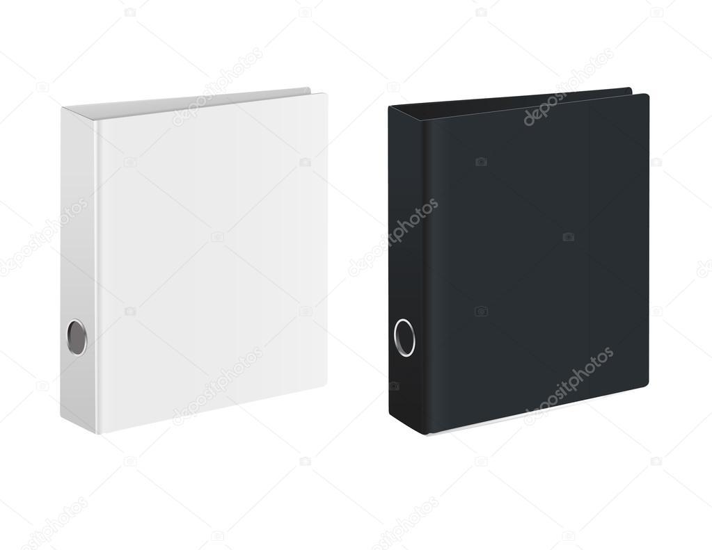 Binder blanc bureau fermé noir et blanc couvre vue isométrique