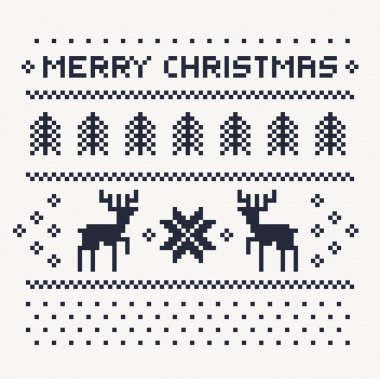 christmas winter pattern print for jersey or t-shirt. Pixel deers and christmas trees on the white background