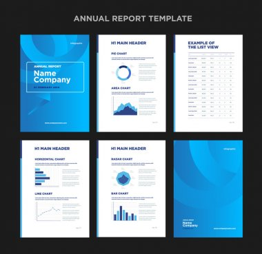 Modern annual report template with cover design and infographic