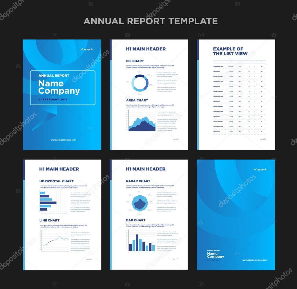 Modern Annual Report Template With Cover Design And Infographic U2014 Stock  Vector  Annual Report Template Design