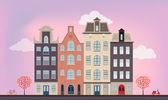 Městské Evropské domy v různých architektonických stylů a barev. Podrobné plochý vektorový obrázek.