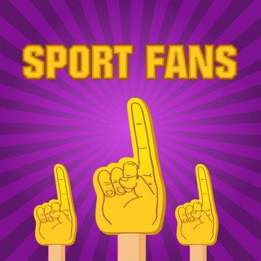 color sport fans foam fingers on the retro background