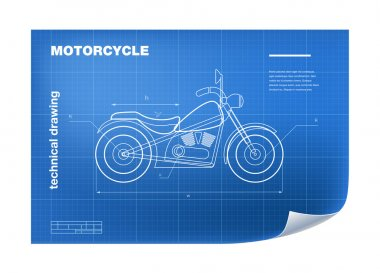 Technical Illustration with motorbike drawing on the blueprint