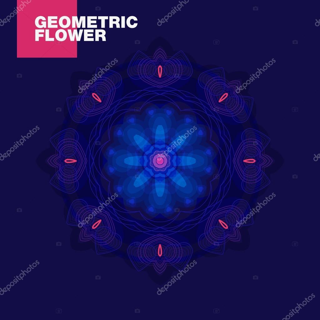 luxurious geometric blue lotus flower on a dark background