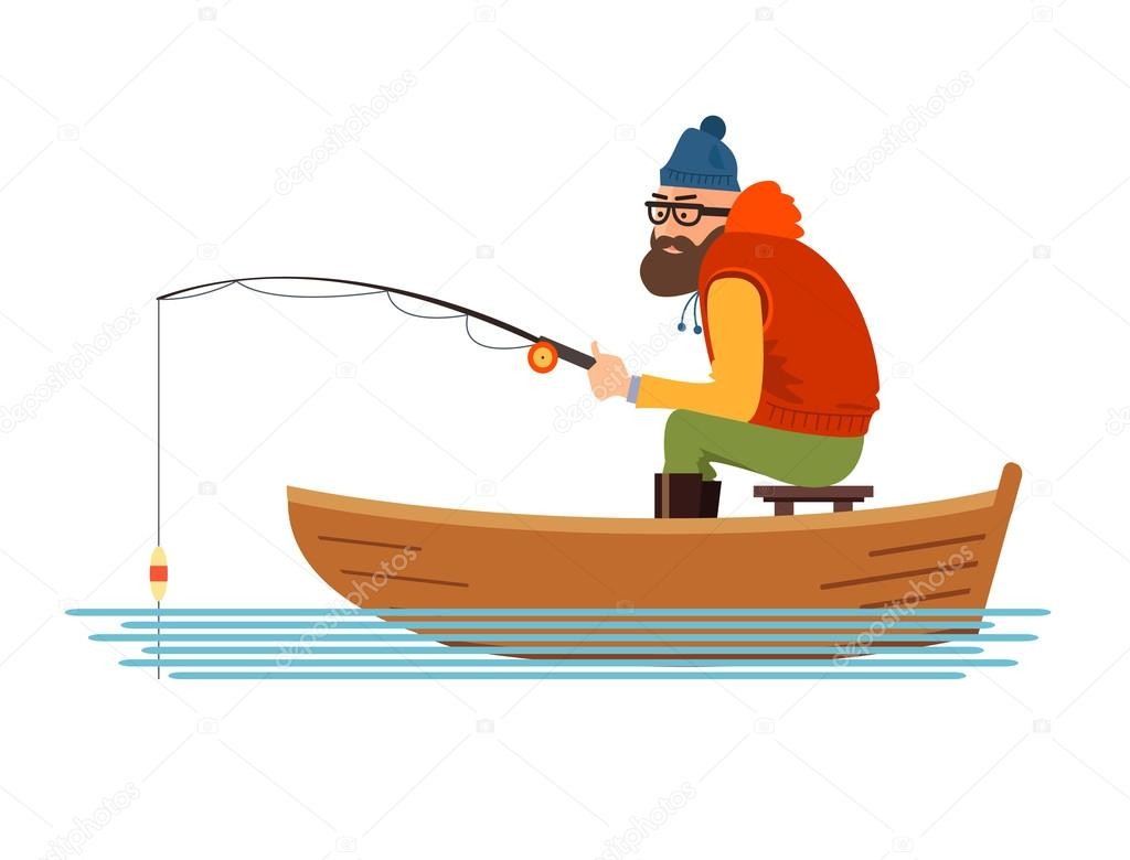 Fisherman in a boat on the white background