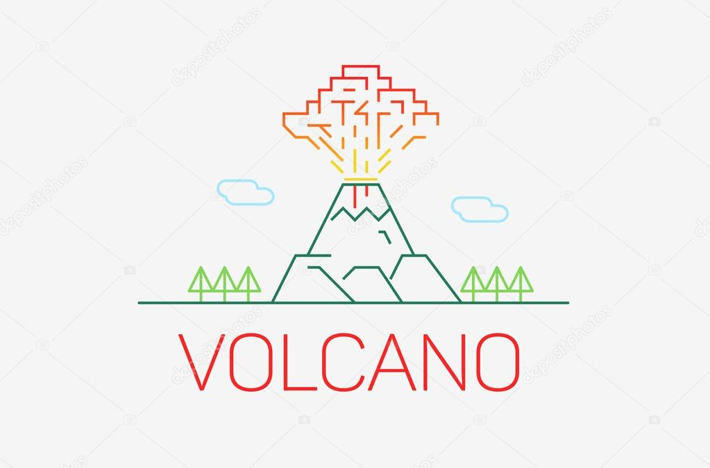 Volcano exploding icon thin line icon, modern minimalistic flat design with logo elements. Vector illustration on light grey background.