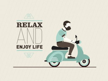 hipster young bearded man character with retro blue scooter. Urban modern lifestyle abstract vector post card
