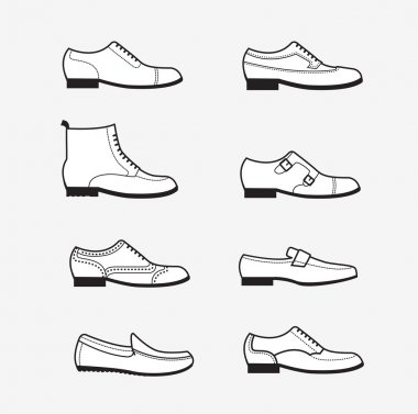 Vector graphic set icons of flat classical men's shoes.