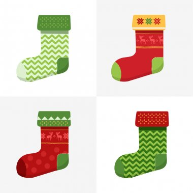 Flat winter Christmas Socks set with pixel deers and christmas trees.